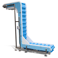 DynaClean Verical Z: banda para transporte vertical adaptable a diferentes alturas, de Dynamic Conveyor.